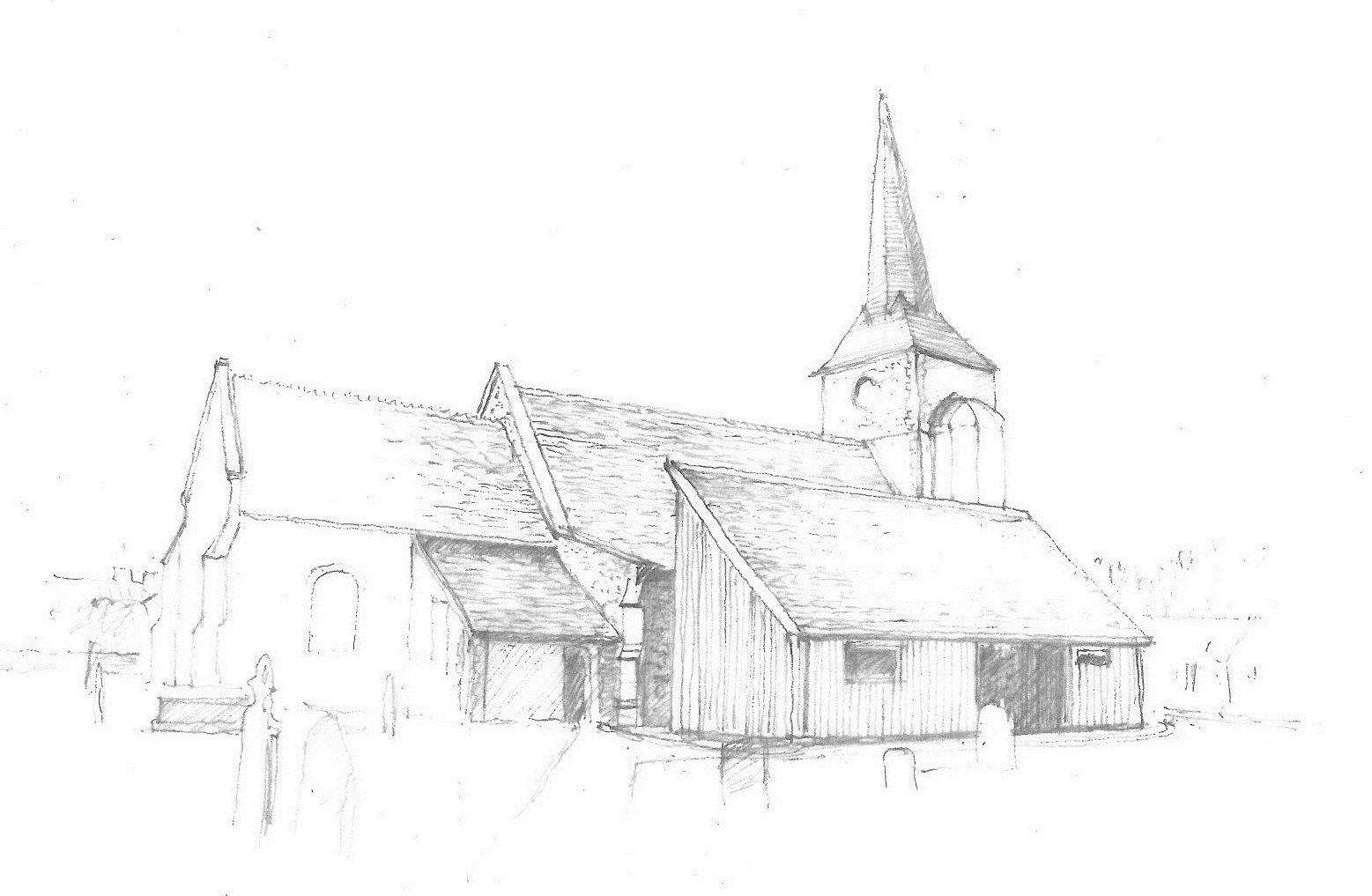 Sketched external view from North East